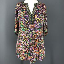 BCBG Top S Rainbow Knit Purple Green Orange Liquid Knit Abstract MAX AZRIA