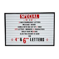 "2""Outdoor Changeable Letters Message Board Marquee sign with Metal Frame 48""x32"""