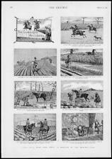 1893 antique print-Sporting comédie accidents Romance chasse field horse (148)