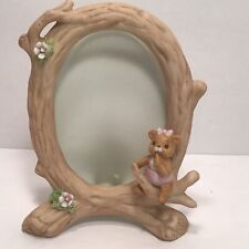 Vintage 1983 Lefton Baby Bear On Tree Branch # 03709 Picture Frame