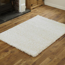 Modern Large 133cm Cream 5cm Thick Pile Circle Round Plain Shaggy Rugs