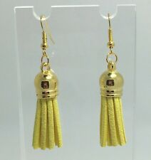 Yellow Faux Leather Gold Colour  Earrings D357 Kitsch 5.6 cm Long Tassel
