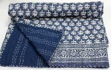 Indian Kantha Bed Cover Bedspread Cotton Hand Block Anokhi Print Quilt Throw 935