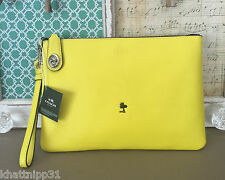 COACH X PEANUTS WOODSTOCK YELLOW LEATHER LARGE CLUTCH WRISTLET LIMITED VHTF NWT