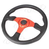 "14"" PU Leather Stitching Sport Car Racing Steering Wheel Orange&Black Universal"