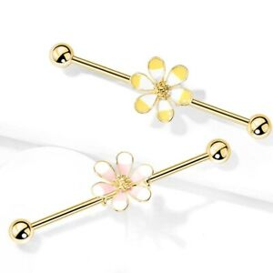 ENAMEL TROPICAL FLOWER STEEL INDUSTRIAL EAR PIERCING BARBELL JEWELRY (14G-38mm)