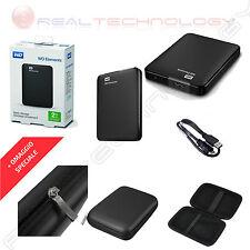 HARD DISK ESTERNO 2,5 500-750-1TB-2TB-3TB WESTERN DIGITAL USB 3.0 CON CUSTODIA