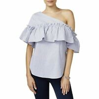 Bar III One-Shoulder Top Blue Combo M