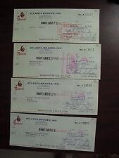 Lot of 4 Vintage 1969 Atlanta Braves Baseball Cancelled Checks