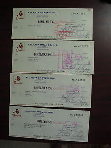 Lot of 4 Vintage 1969 Atlanta Braves Baseball Cancelled Checks