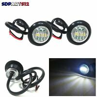 2 X 24V 3 Led Blanc Mini Feux De Position Rond Indicateur Camion Remorque Van