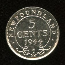 1944 Newfoundland Five Cents Silver Coin