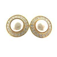 "Vintage Swarovski Signed Crystal SAL Pearl Gold Clip Earrings .75"""