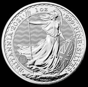 2021 Great Britain 2 Pounds Britannia 1 oz Silver .9999 Fine Coin Brilliant UNC+