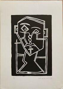 Franco Caturegli da Buti xilografia numerata Volto B  50x35 firmata anno 1982