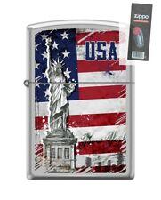 Zippo 5025 USA Flag-Statue of Liberty Satin Chrome Finish Lighter + FLINT PACK