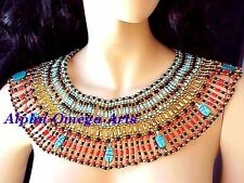 Halloween Costume LUCK 9 Scarabs Turquoise Red Beaded Large Cleopatra Necklace