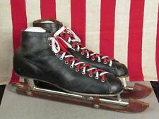 Vintage 1950s Black Leather Ice Skates Speed Skates Racing Sz.12 Alfreds Wizard