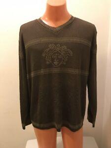 Vintage Gianni Versace Couture Medusa Head Men's Green Sweater X-Large RARE