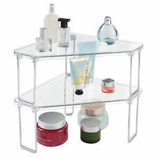 mDesign Plastic Bathroom Stackable Corner Organizer Shelf, 2 Pack - Clear/Chrome