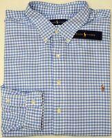 NWT $98 Polo Ralph Lauren Long Sleeve Shirt Mens Blue Plaid Oxford