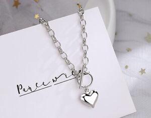 Heart Pendant 925 Sterling Silver Plated Chain Necklace Bracelet Women Jewellery