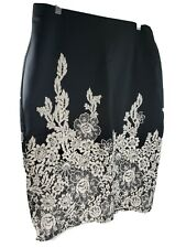 NYCC Black Medium Skirt Sexy Embroidery Style 3D Creme Accents Rear Slit