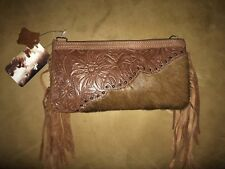 """Trinity Ranch  """"Montana West"""" Tooled Leather with Hair on Hide CLUTCH NWT $69"""