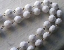 6 Feet 10 mm White Faceted Round Lucite Plastic Silver Bead Chain Jewelry Supply