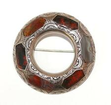 Antique Scottish Celtic Sterling Silver Agate Pebble Pin Brooch Chased c1900