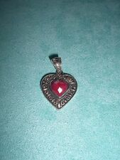 Signed BJC .925 Red Stone Sterling Silver Pendant