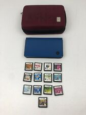 Nintendo DSi XL Blue Handheld Console Bundle Lot 16 Games + Case (no Charger)