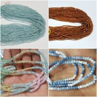 """AAA QUALITY NATURAL MICRO FACETED RONDELLE BEADS 3 MM 13"""" GEMSTONE STRAND"""