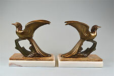 Par De Sujetalibros Original Art Deco Pájaro Exótico Figura De Metal Sobre Base De Mármol