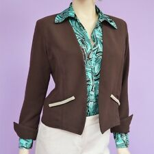 NWT Ladies Brown Polyester Reversible Fashion Blazer Deep Pockets Size XS-S-M-L