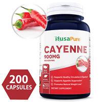 NusaPure Cayenne Pepper 900mg 200 Veggie Capsules (NON-GMO & Gluten Free)