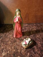 Mary & Baby Jesus Hand Painted Porcelain Nativity Figurine Set Christmas