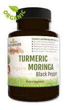 Organic 120 Turmeric Moringa & Black Pepper Capsules: Curcumin Piperine: 500 mg