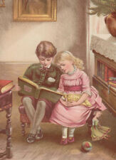 VICTORIAN GIRL WITH DOLLS & BOY READING BOOK TOGETHER ANTIQUE LITHOGRAPH 1885