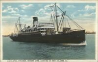 Palatial Steamer Steamship Morgan Line Arrives New Orleans LA Postcard