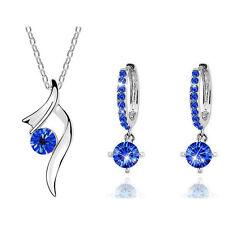 Dark Royal Blue Ribbon Crystal Bridal Jewellery Set Hoop Earrings Necklace S558