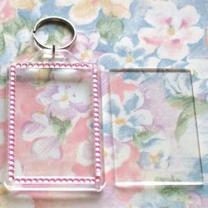 40x Blank Pink Gemstone Acrylic Keyrings 70x45mm Photo Size (key ring plastic)