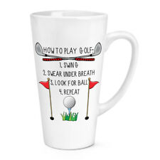 How To Play Golf 17oz Large Latte Mug Cup - Funny Dad Father's Day Sport