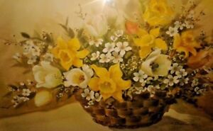 FINE ART WATERCOLOR ORIGINAL FLOWERS DAFFODILS STILL LIFE PAINTING LISTED ARTIST