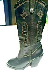 Very Volatile 7.5 Brown Tooled Braided Leather Heels Western Cowboy Boots Conch