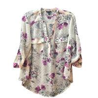 Torrid Blouse Ivory Crinkle Chiffon Swiss Dot Purple Floral 3/4 Tab sleeve M/L