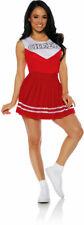 Red Cheer Top Pleated Skirt Halloween Cheerleader Costume Adult Women