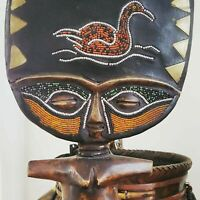 Vintage Beaded Hand Carved African Fertility Doll