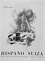 PUBLICITÉ DE PRESSE 1934 HISPANO SUIZA PRINTEMPS - DESSIN RENÉ RAVO