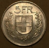 1951 B Switzerland 🇨🇭 5 Silver Francs Uncirculated, free combined SH